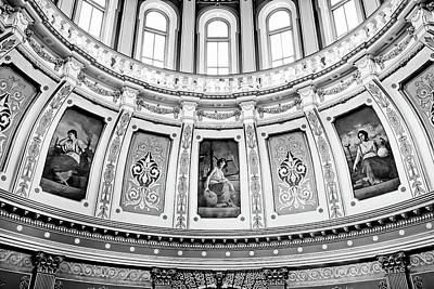 Photograph - Michigan Capitol Architecture Bw by Jenny Hudson