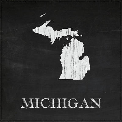 Michigan State Digital Art - Michigan - Chalk by Finlay McNevin
