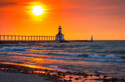 Washington Indiana Photograph - Michigan City Sunset by Jackie Novak