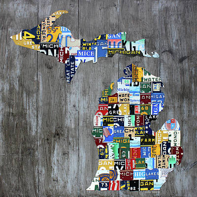 Vintage Map Mixed Media - Michigan Counties Patchwork License Plate Art Recycled Vintage Map 2017 Edition  by Design Turnpike