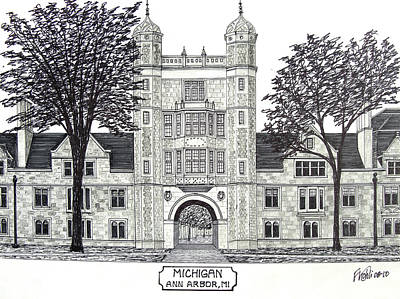 Pen And Ink Drawing Drawing - Michigan by Frederic Kohli