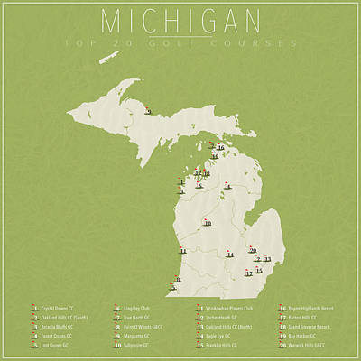 Michigan State Digital Art - Michigan Golf Courses by Finlay McNevin