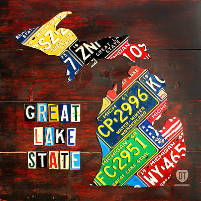 Great Lakes Mixed Media - Michigan License Plate Map by Design Turnpike