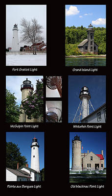 Photograph - Michigan Lighthouses by Mary Bedy