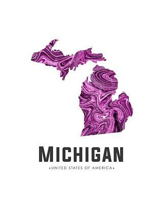 Mixed Media - Michigan Map Art Abstract In Purple by Studio Grafiikka