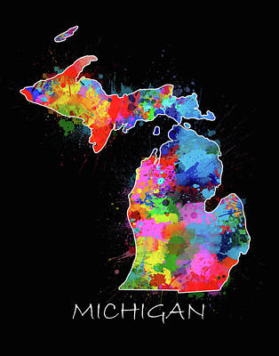 Detroit Tigers Art Digital Art - Michigan Map Color Splatter 2 by Bekim Art