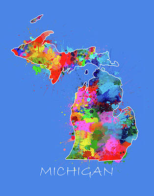 Detroit Tigers Art Digital Art - Michigan Map Color Splatter 3 by Bekim Art