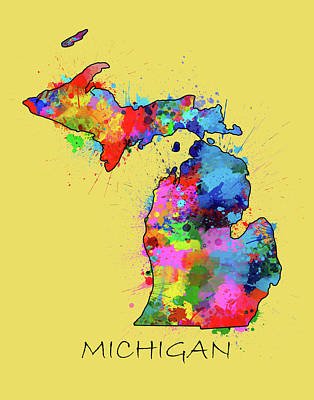 Detroit Tigers Art Digital Art - Michigan Map Color Splatter 4 by Bekim Art
