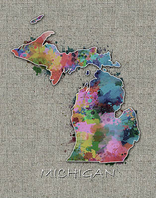 Detroit Tigers Art Digital Art - Michigan Map Color Splatter 5 by Bekim Art