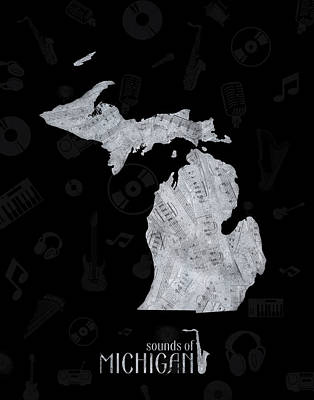 Music Royalty-Free and Rights-Managed Images - Michigan Map Music Notes 2 by Bekim Art