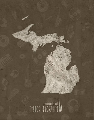 Detroit Tigers Art Digital Art - Michigan Map Music Notes 3 by Bekim Art