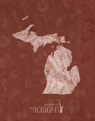 Music Royalty-Free and Rights-Managed Images - Michigan Map Music Notes 4 by Bekim Art