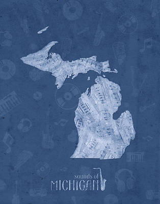 Detroit Tigers Art Digital Art - Michigan Map Music Notes 5 by Bekim Art