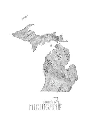 Music Royalty-Free and Rights-Managed Images - Michigan Map Music Notes by Bekim Art