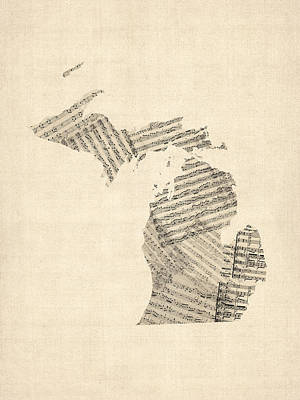 Michigan Map, Old Sheet Music Map Art Print by Michael Tompsett