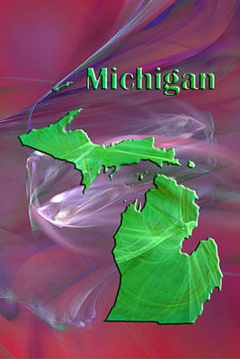 Michigan State Painting - Michigan Map by Roger Wedegis