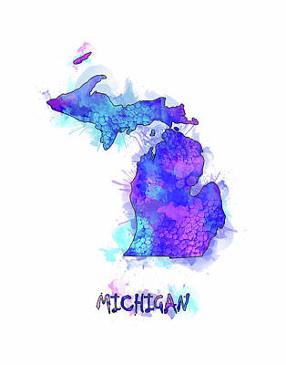 Detroit Tigers Art Digital Art - Michigan Map Watercolor 2 by Bekim Art