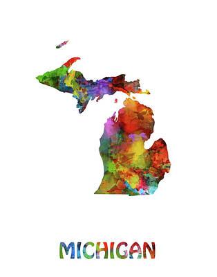 Watercolor Map Digital Art - Michigan Map Watercolor by Bekim Art