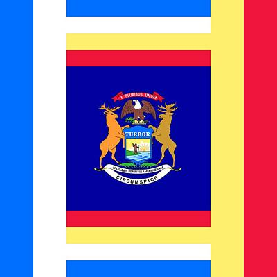Us Flag Mixed Media - Michigan by Otis Porritt