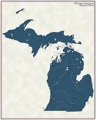 Michigan State Digital Art - Michigan Parks - V2 by Finlay McNevin
