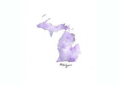 Army Air Service Painting - Michigan Purple - Horizontal by Katrina Ryan