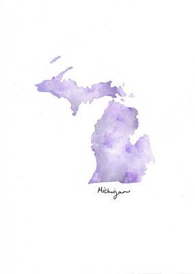 Army Air Service Painting - Michigan Purple - Vertical by Katrina Ryan