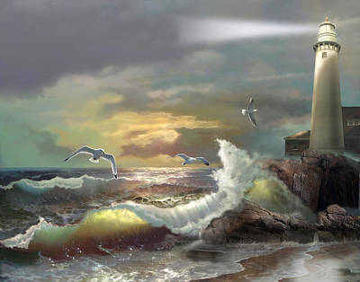Seagulls Painting - Michigan Seul Choix Point Lighthouse With An Angry Sea by Regina Femrite