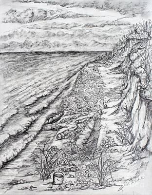 Lake Michigan Drawing - Michigan Shoreline by Linda Steine