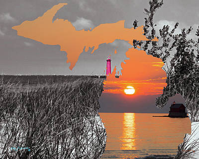 Mixed Media - Michigan Silhouette 2 by Ken Figurski