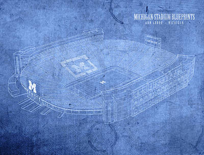 Football Mixed Media - Michigan Stadium Wolverines Ann Arbor Football Field Big House Blueprints by Design Turnpike