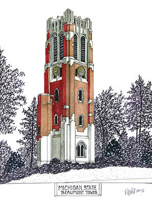 Drawing - Michigan State by Frederic Kohli
