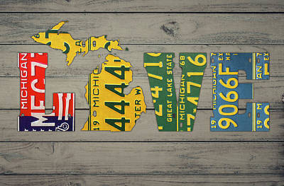 Michigan State Wall Art - Mixed Media - Michigan State Love Heart License Plates Art Phrase by Design Turnpike