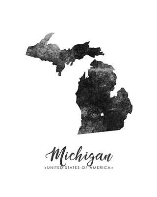 Michigan State Wall Art - Mixed Media - Michigan State Map Art - Grunge Silhouette by Studio Grafiikka
