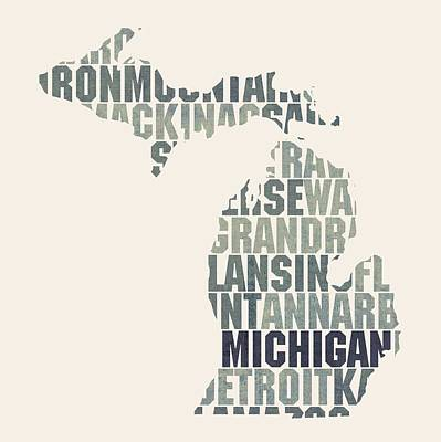 Michigan State Mixed Media - Michigan State Outline Word Map by Design Turnpike