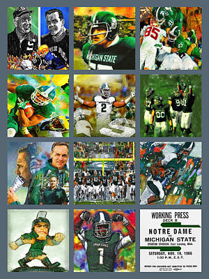 Michigan State Painting - Michigan State Spartans Football Collage by John Farr