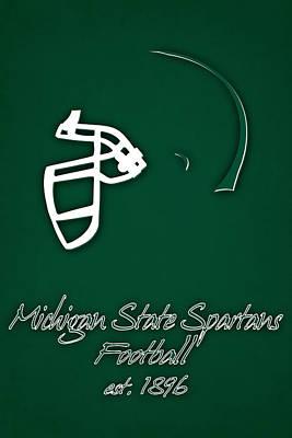 Michigan State Spartans Helmet Print by Joe Hamilton