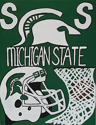 Michigan State Drawing - Michigan State Spartans by Jonathon Hansen