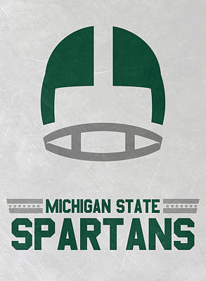 Mixed Media - Michigan State Spartans Vintage Art by Joe Hamilton