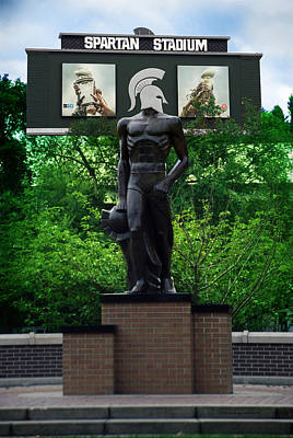 Brick Schools Mixed Media - Michigan State University Spartan Statue Merge Vertical by Thomas Woolworth