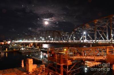 Digital Art - Michigan Street Bridge After Dark by Mark David Zahn