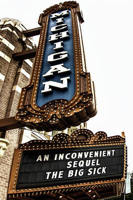 Photograph - Michigan Theatre Marquee by Pat Cook