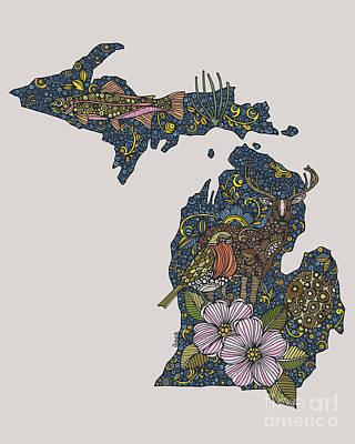 Michigan State Digital Art - Michigan by Valentina