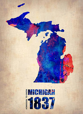 Modern Poster Painting - Michigan Watercolor Map by Naxart Studio