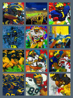 University Of Michigan Painting - Michigan Wolverines Football Two Collage by John Farr