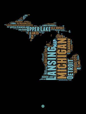 Michigan Word Cloud Map1 Art Print
