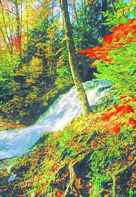 Digital Art - Michigan's Carp River Falls by Dennis Cox Photo Explorer