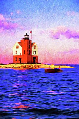 Digital Art - Michigan's Round Island Light by Dennis Cox Photo Explorer