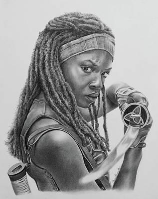 Danai Gurira Drawing - Michonne by Amani Warrington