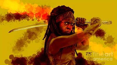 Walking Dead Digital Art - Michonne by David Kraig