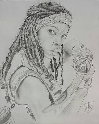 Danai Gurira Drawing - Michonne by DMo Herr
